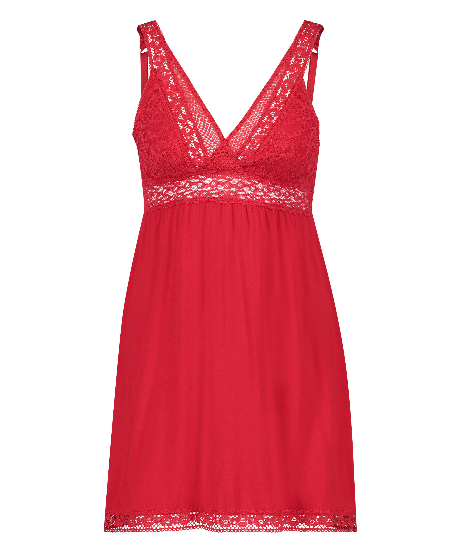 Vestido lencero Jersey Grafic Lace, Rojo, main