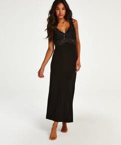 Vestido lencero Nora Lace Long, Negro