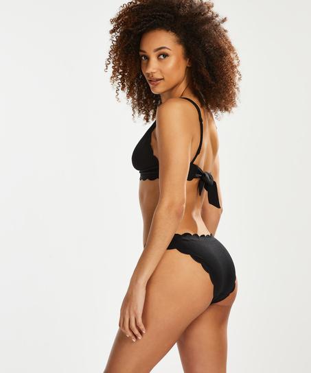 Braguita de bikini rio de corte bajo Scallop Glam, Negro