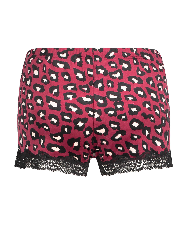 Pantalón corto de terciopelo y encaje, Rojo, main