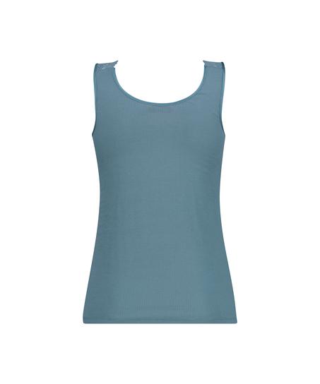 Camiseta sin mangas de punto y encaje, Verde