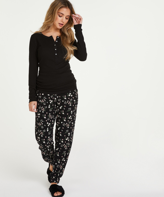 Top de pijama de manga larga, Negro, main