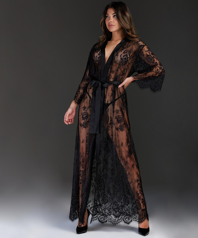 Kimono largo todo de encaje, Negro, main
