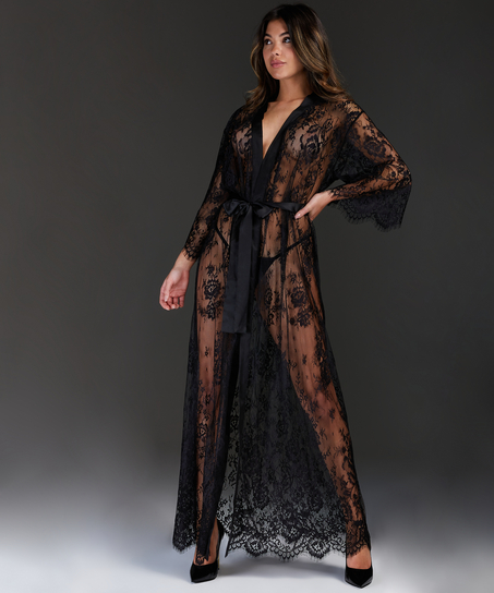 Kimono largo todo de encaje, Negro