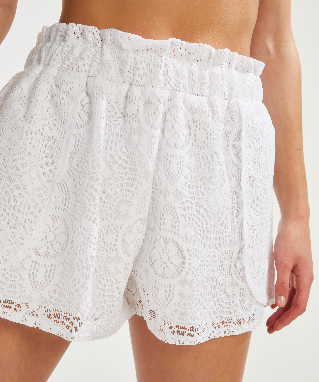 Pantalones cortos de encaje, Blanco, main