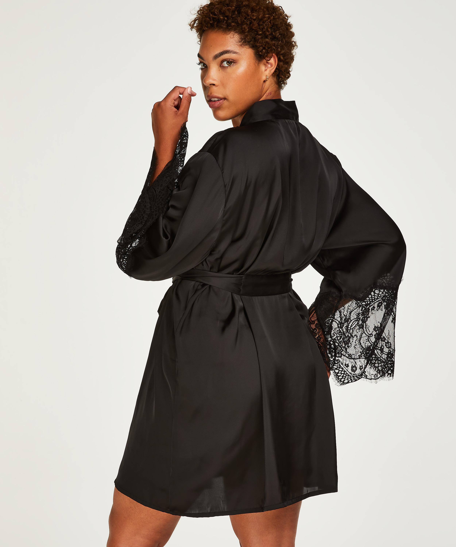 Kimono Lace Satin, Negro, main