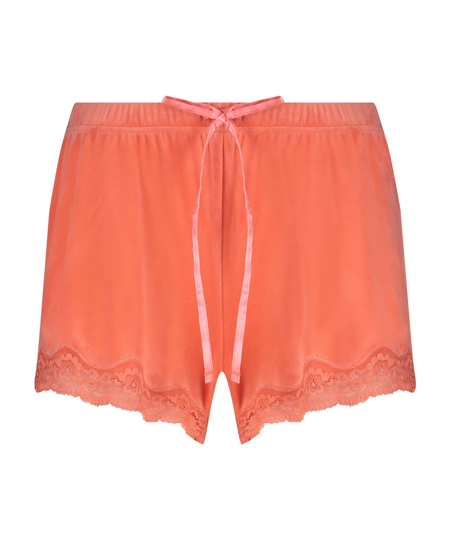 Pantalón corto de terciopelo y encaje, Naranja, main