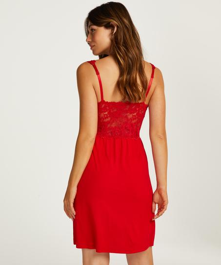 Vestido lencero Nora Lace, Rojo