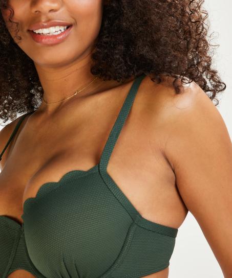 Top de bikini de aros preformado Scallop Glam, Verde