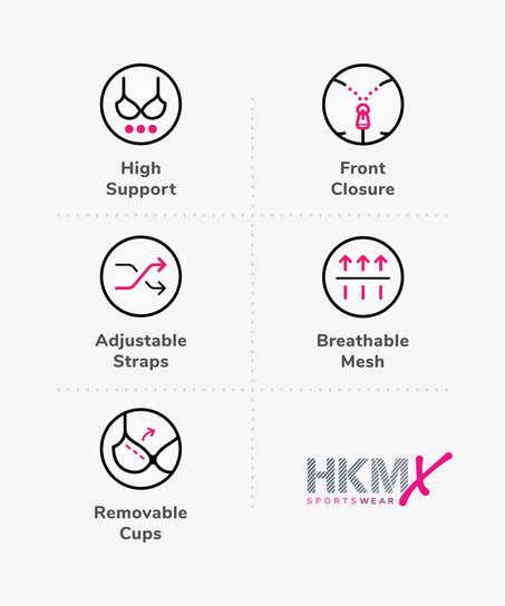 HKMX Sujetador deportivo The Pro Level 3, Gris