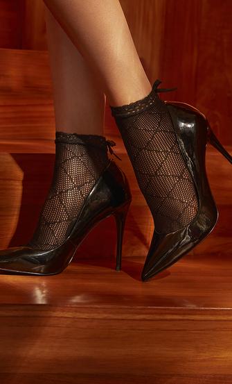 1 par de calcetines Mesh Rebecca Mir, Negro