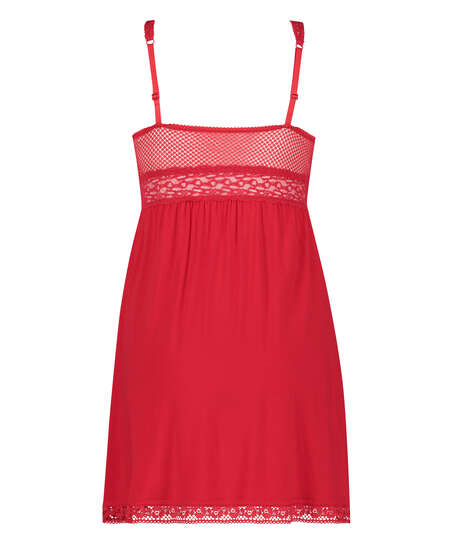 Vestido lencero Jersey Grafic Lace, Rojo