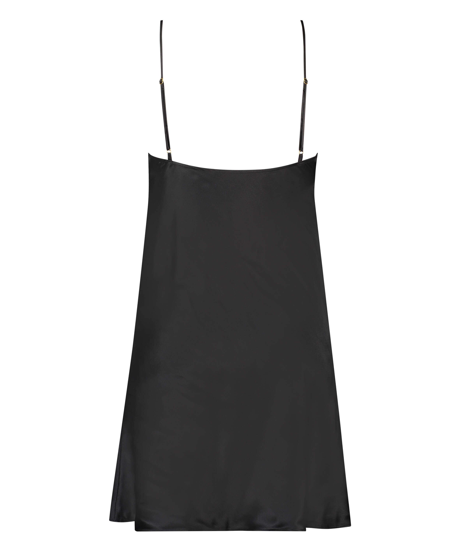 Vestido combinación de satén y encaje, Negro, main