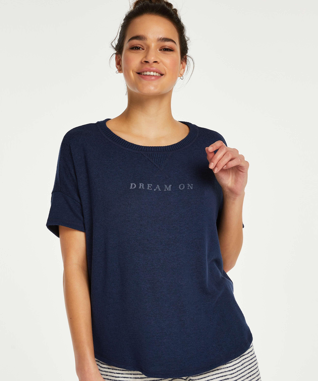 Top de pijama de mangas cortas Brushed Jersey, Azul, main