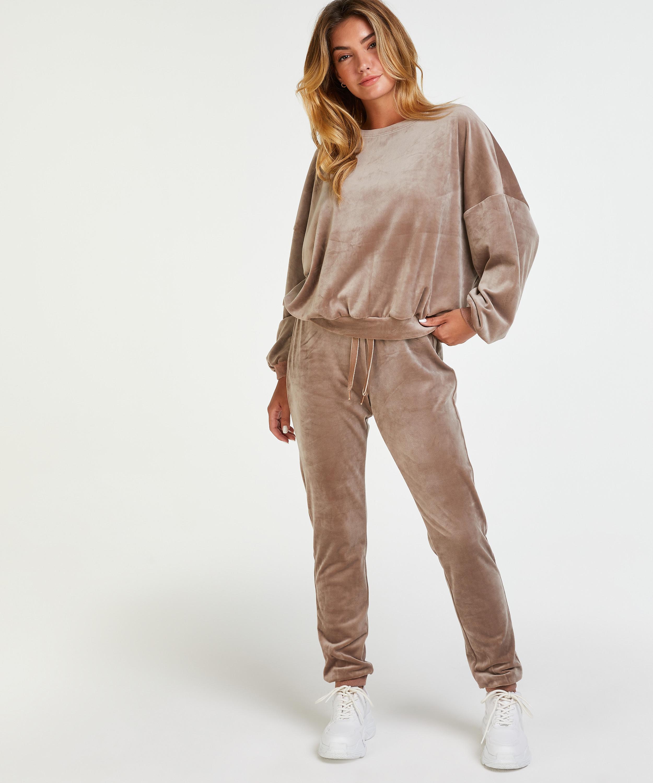 Pantalón para correr de terciopelo Lurex, marrón, main