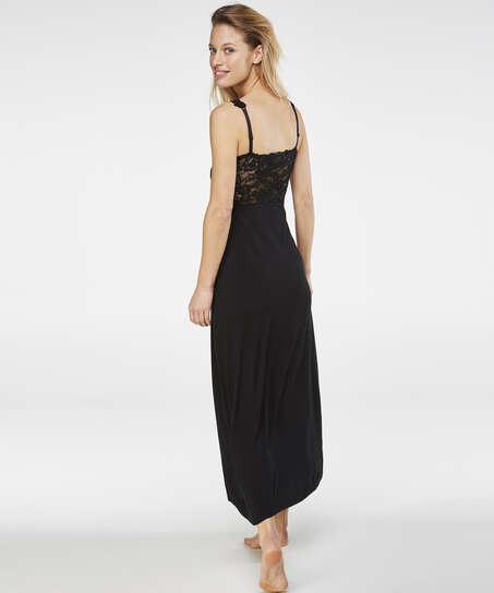 Vestido combinación largo Modal Lace, Negro