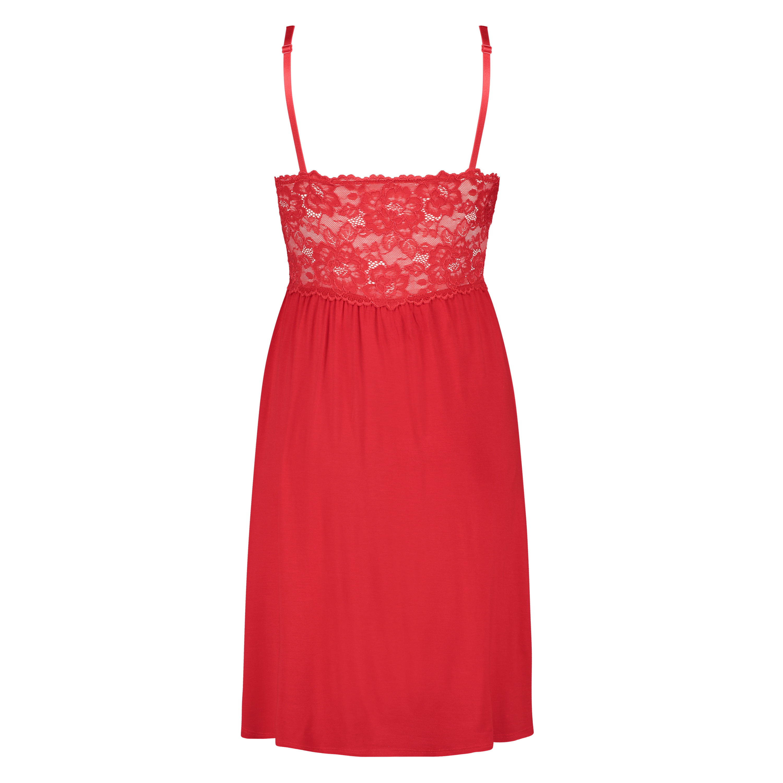 Vestido lencero Nora Lace, Rojo, main