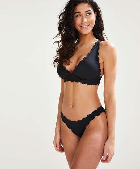 Top de bikini triangular Scallop, Negro